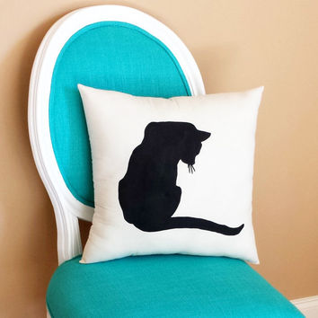 Cat Silhouette Throw Pillow, Home Decor, Dorm Decor, Pet Pillow, Cat Decor, Cat Lover Gift, Cat Pillow **FREE SHIPPING**