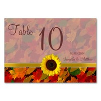 Rustic Fall Leaves Autumn Wedding Table Numbers