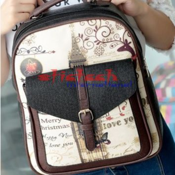 University College Backpack by dhl or ems 10pcs Graffiti Cartoon Printing  Women Girls  PU Leather  School Bags For TeenagersAT_63_4