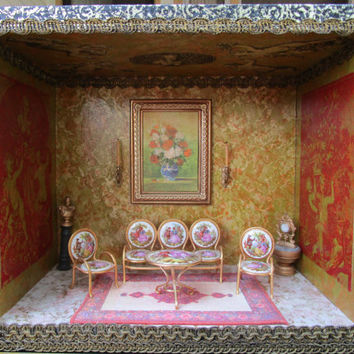 Victorian Parlor Roombox, Miniature Furniture, Dollhouse Room Box Living Room, Limoges Furniture Set, Victorian Diorama, Miniature Parlor