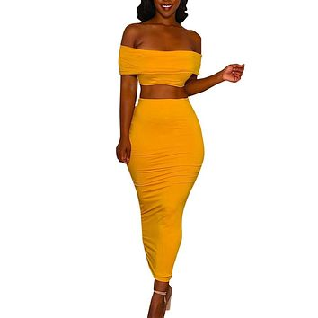 2 Piece Set Women Crop Top And Long Skirts Two Piece