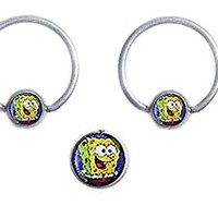Pair of Spongebob Hypoallergenic Surgical Steel Captive bead Ring lip, belly, nipple, cartilage, tragus, septum, earring body Jewelry piercing hoop - 14g