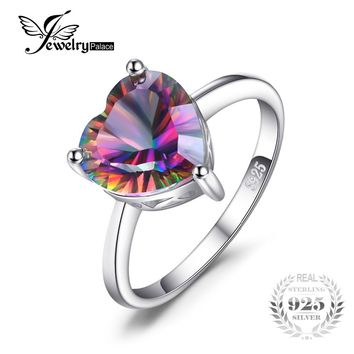 Heart 2.65ct Genuine Rainbow Fire Mystic Topaz Solid Pure 925 Sterling Silver Ring