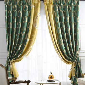 A818 Iris flower with mustard yellow/ Geometric Pattern with Emerald Green 2 in 1 Window Curtain Panel