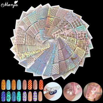 6/12/18/24Pcs Nail Art Vinyls Hollow Laser Transfer Foil Sticker Stencil Gel Polish Tips 3D Image DIY Guide Template Stamp Decal