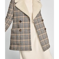 CONTRASTING TEXTURE CHECKED COAT