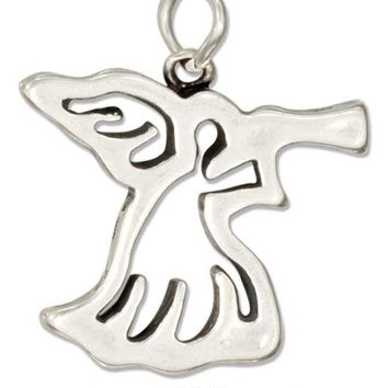 Sterling Silver Silhouette Angel With Trumpet Charm