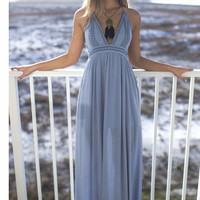 Sea Breeze Blue Maxi Dress