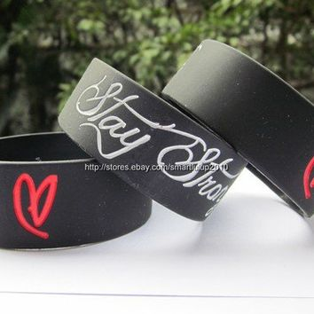 1PC Stay Strong Demi Lovato Inspired Silicon Promotion Gift Wristband Bracelet