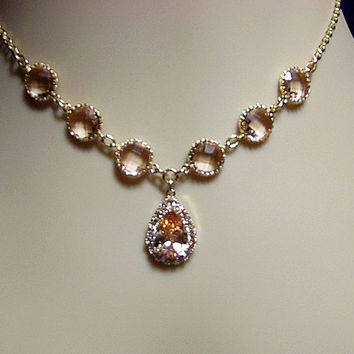 Peach Champagne Cubic Zirconia Gold Necklace, Bridesmaid Wedding Christmas Mom Sister Grandmother Girlfriend Jewelry Gift, Cocktail