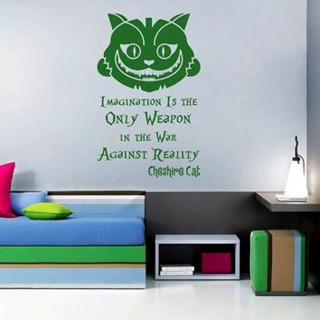 ik2583 Wall Decal Sticker Alice in Wonderland Cheshire Cat quote bedroom children's room
