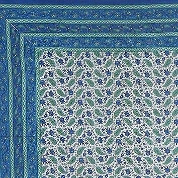 Handmade 100% Cotton Paisley Floral Tablecloth Tapestry Spread 85x90 Blue White