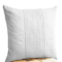 White silk ripple pillow- White pintuck pillow- 20x20- White textured cushion- Silk cushion- Throw pillow- Bedding- Couch pillows- Gift