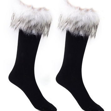 White Faux Fur Embellished Socks