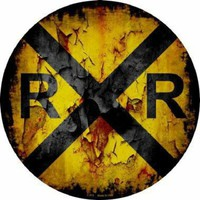 Railroad Crossing Sign Distressed  Steam Engine Railway Novelty Sign
