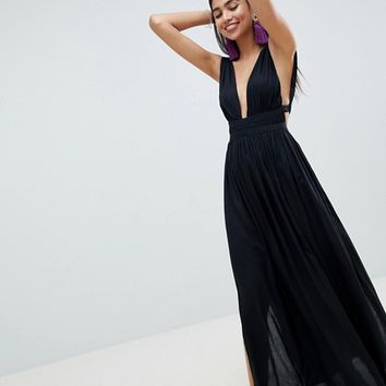 ASOS DESIGN Grecian plunge maxi woven beach dress at asos.com
