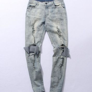 Top kanye west represent mens european clothing men light blue/black designer rock star Hole ripped skinny distressed jeans