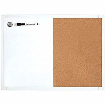 Quartet Dry Erase Board & Cork Board Combination, 2 x 3 Feet, Whiteboard & Corkboard, Black Frame (95223B)