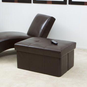 Peabody Brown Leather Large Foldable Storage Ottoman