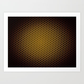 Brown Honeycomb Art Print by Henrik Lehnerer