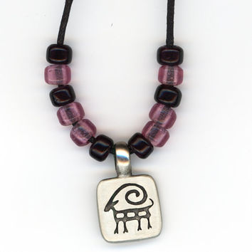 Aries Ram Pendant on Black Cord Necklace with Large Beads