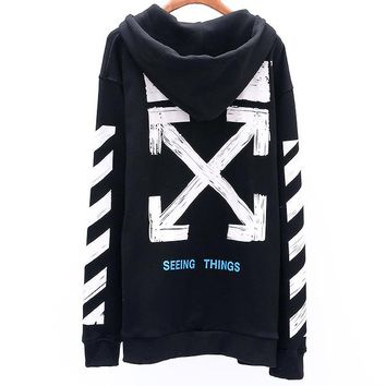 OFF-WHITE autumn and winter new basic paragraph graffiti retro arrow zipper men and women hooded sweater Black