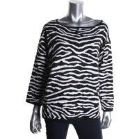 Joan Vass Womens Ribbed Knit Animal Print Pullover Sweater