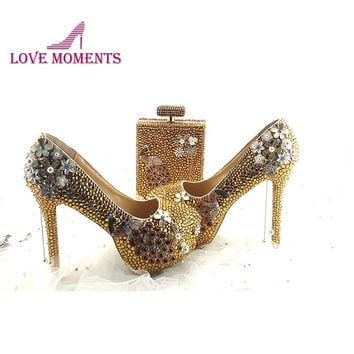 Gorgeous Gold Rhinestone Shoes with Phoenix Deco 5 Inches Party High Heels with Purse Perfume Shape
