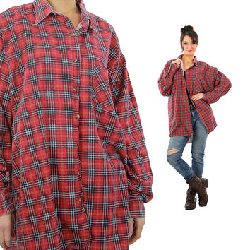 Red plaid flannel Vintage 1990s grunge long sleeve button down lumberjack oversize Hipster unisex shirt Extra Large 2X