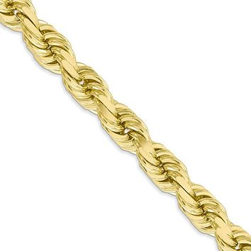 Men's 8mm 10k Yellow Gold Diamond Cut Solid Rope Chain Necklace, 22in