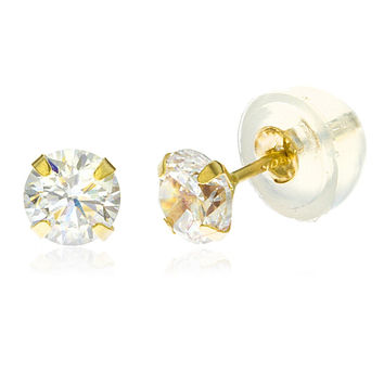 Real 10k Yellow Gold 2mm Round Cubic Zirconia Stud Earrings with Silicone Back
