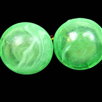 Translucent Marbled Green Lucite Earrings Dome Style Clip On