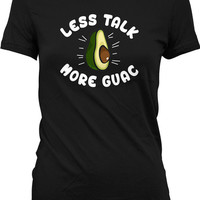 Funny Fitness Shirt Less Talk More Guac Funny Food Shirt Fitness Clothing Training Shirt Exercise Gifts Guacamole Mens Ladies Tee WT-211