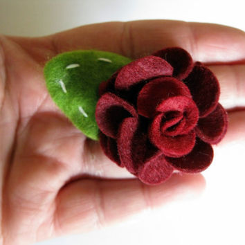 Women or girls burgundy wine feminine romantic wedding flower hair clip accessories - infant soft felt clippie - toddler spring hair clips -
