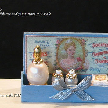 Dollhouse French Perfume shop display made of wood  -  'Lilas Blanc'  - 1:12 scale miniature (LA11)