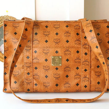 Authentic MCM Visetos Cognac Shoulder Large Vintage HandBag