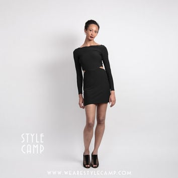 Clara Vampy Mini Dress with Cut Outs in Black