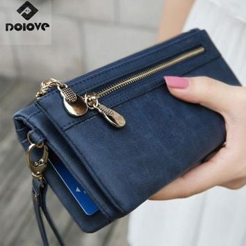 Fashion Women Wallets Dull Polish Leather Wallet Double Zipper Day Clutch Purse Wristlet Portefeuille Handbags Carteira Feminina