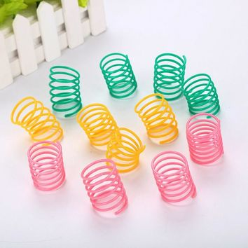 10pcs / lot Cat colorful plastic spring toy ball Wide Durable Heavy Gauge Plastic Pet kitten Toy new