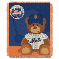 Mets  Baby 36x46 Triple Woven Jacquard Throw - Field Bear Series