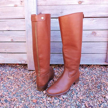 90s J Crew riding boots  US 7.5 / taupe brown tall leather boots / Zip back knee high boots
