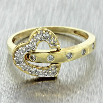 Estate 14k Solid Yellow Gold .20ctw Diamond Movable Heart Band Ring