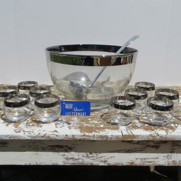 Dorthy Thorpe Style Punch Bowl Set Queens Lusterware Party Bowl and Cups