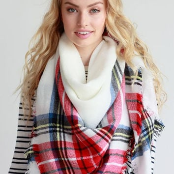 White & Red Blanket Scarf
