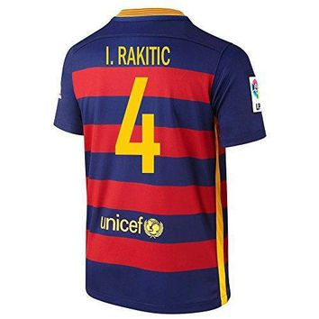 Nike I. Rakitic #4 Barcelona Home Soccer Jersey 2015/2016 Short Sleeve