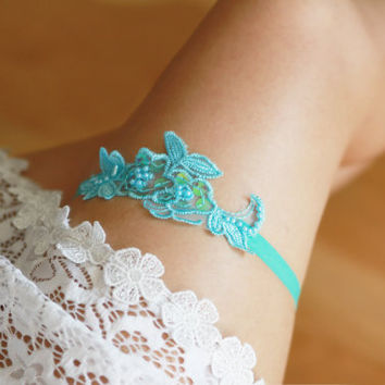 Aqua Blue Limpet Shell Bridal Garter Wedding Garter - Beaded Lace Garter - Something Blue Garter Cyan Blue