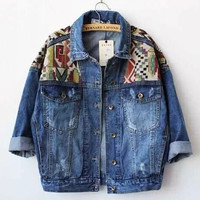 2016 Womens Jeans Jacket Autumn Loose Geometrical Patchwork Designs Denim Jackets Outerwear Female
