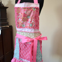 Womans Rag Ruffled Style Apron, Pink and Turquoise Blue Ready to Ship