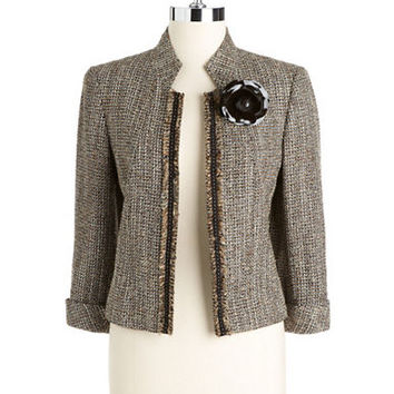 Tahari Arthur S. Levine Metallic Tweed Flyaway Jacket With Flower Brooch
