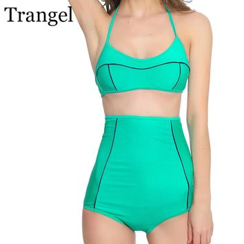 Trangel 2018 High Waisted Swimwear women Bikini Sexy Brand Biquini Halter Swimsuit Slim Bodysuit Sexy Bikini set Bathing Suits